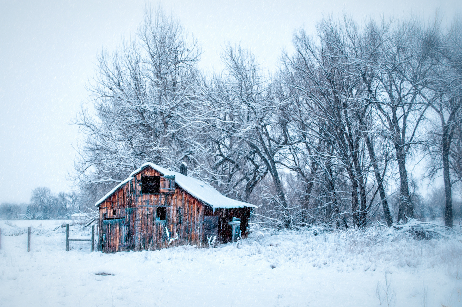 Boxelder Cabin Winter Snow HDR Photography