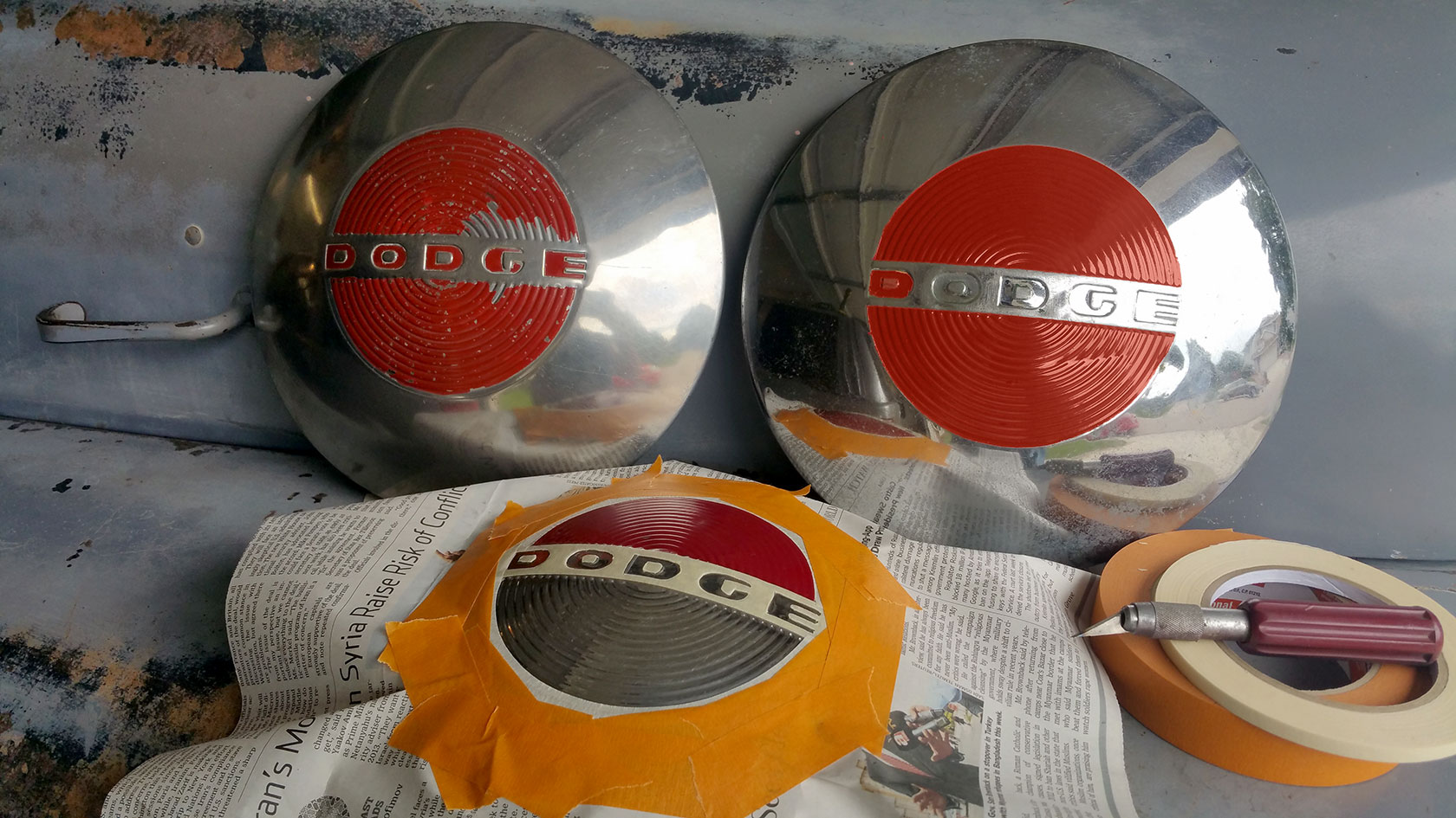 1950-Dodge-B2B-Hubcaps-Being-Prepped-and