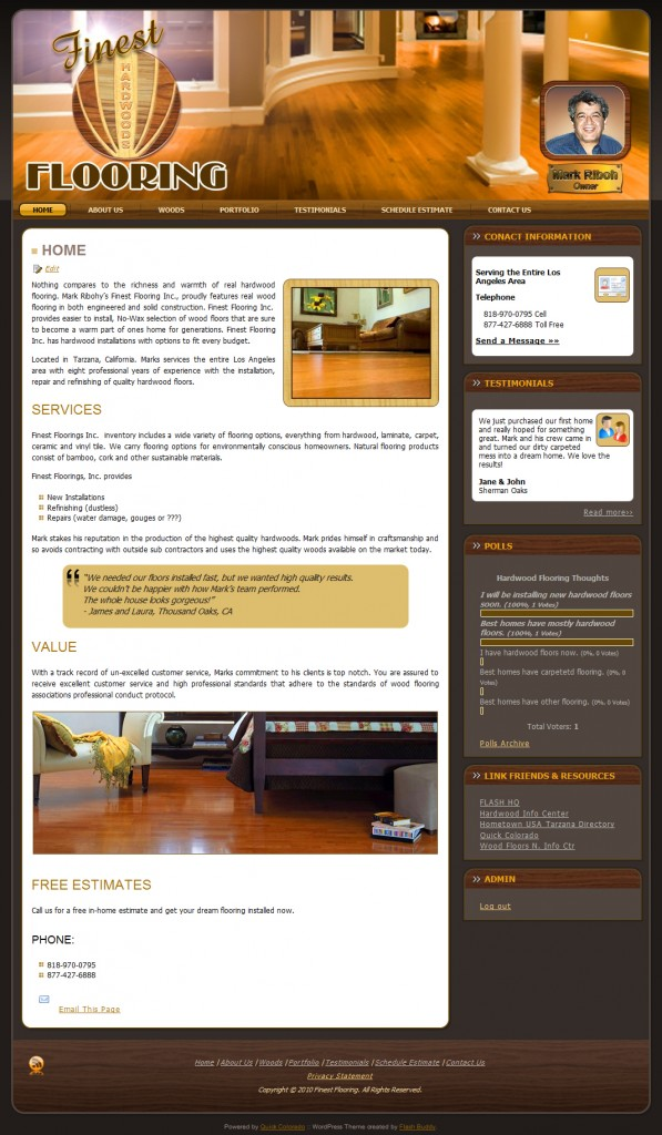 Finest Flooring WordPess Website Design Screenshot