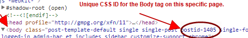 Body Tag CSS ID for Post