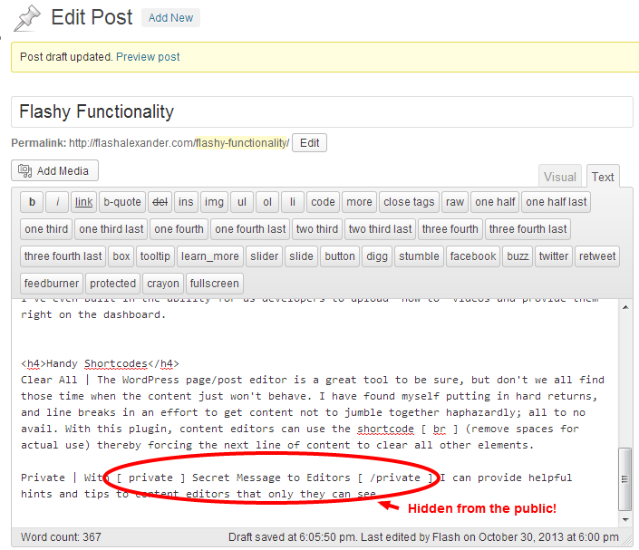 Edit Post Private Editor Content for WordPress
