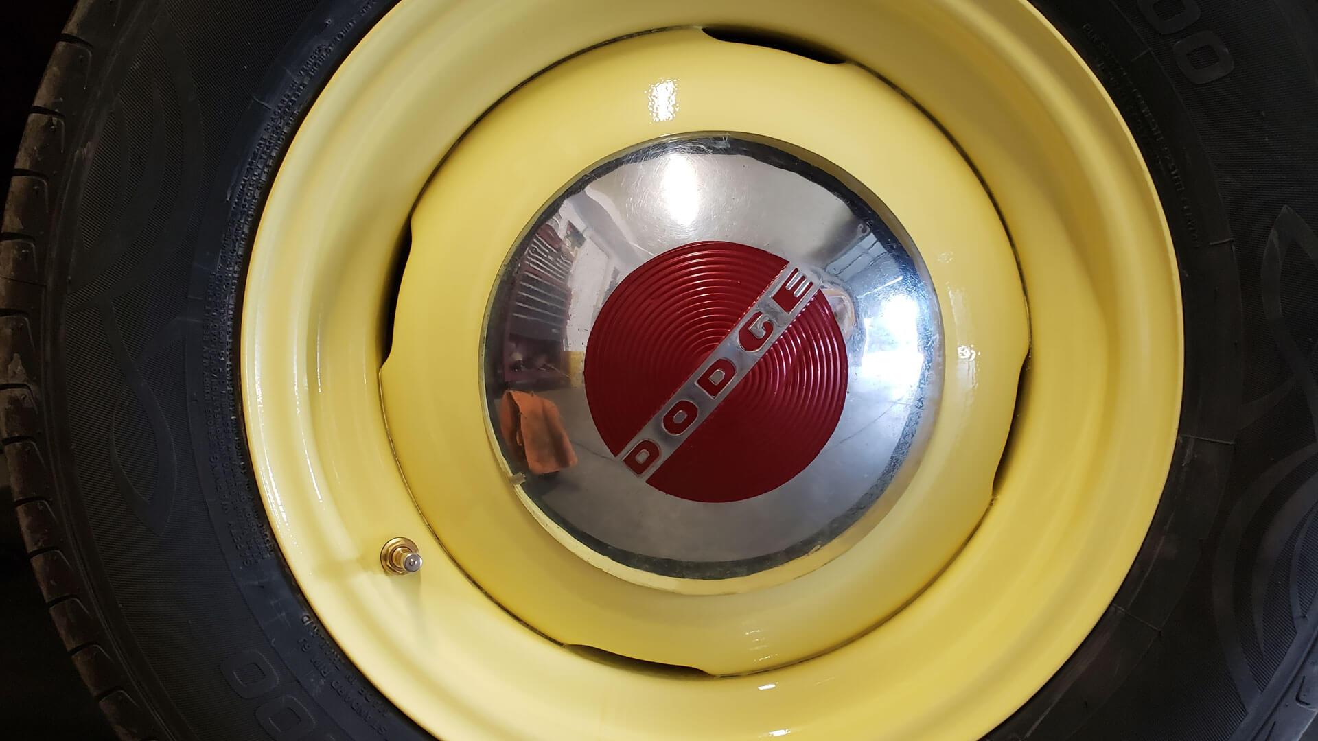 Vintage Wheel, Modern Tire & 1950 Dodge Hubcap